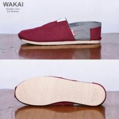 sepatu santai/slip on and loafer terbaru pria wanita- WAKAI MAROON ABU model trendy and stylis