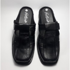 Sepatu Selop KWL Sandal Selop Pria Kulit Asli- Black