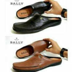 Sepatu Sendal Bustong BALLY Slop Kulit Asli Pria Sandal Tutong Cowok