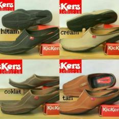 Sepatu Sendal Kickers Lemuria Bally Slop Semi Kulit Flatshoes Sandal Casual Slip On Murah Cowok