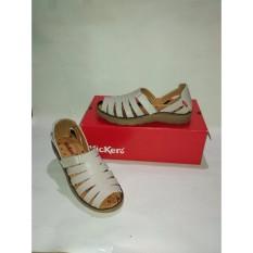 Sepatu Sendal Kickers Women Flat Putih Gading