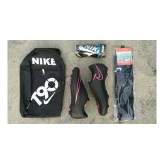 Sepatu Sepak Bola Keren HITAM Garis PINK Bonus Tas, Decker Dan Kaos Kaki Sepatu Bola / Setpatu Bola Keren / Sepatu Bola Murah