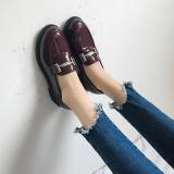 Toko Sepatu Lapisan Tunggal Wanita Sol Datar Retro Model Inggris Anggur Merah Terlengkap