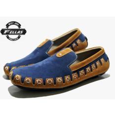 Sepatu Slip-on Bermotif Pria - FELLAS MOCASSIN FR 01 - Black - Navy - Tan