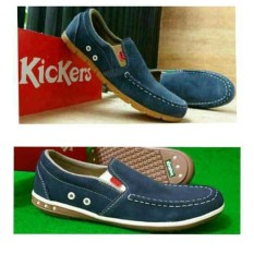 Sepatu Slip On Kickers Navy Leather Suede Slop Pria - 9A65A5