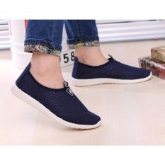 Harga Sepatu Slip On Mesh Kasual Pria Size 41 Dark Blue Yang Bagus