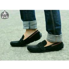 Sepatu Slip On Slop Casual Pria - Kulit Suede - AVAIL EVERBEST - Black