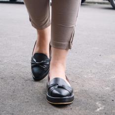 Toko Sepatu Slip On Wanita Pattaya Ribbon Hitam Online