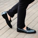 Beli Sepatu Slop Pantofel Kerja Slip On Kulit Asli Formal Pria Cevany Derosa Hitam Coklat Kuning Online Murah