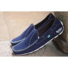 Jual Sepatu Slop Pria Slip On Casual Hugges Blue Grosir