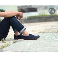 Sepatu Slop Slip On Pria - CEVANY ORIGINAL- SEPATU SLIP ON KULIT- SEPATU PRIA CEVANY MARIO ( NAVY )