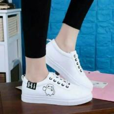 Sepatu Sneaker Kets Wanita Baymax Hi - Hitam Putih