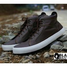 Sepatu Sneakers Pria Kasual Modern Terbaru - BLACK MASTER ARL DC - Hitam / Coklat