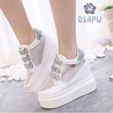Sepatu Sneakers Wedges Boots Wanita Line Glitter Putih - TRE BS