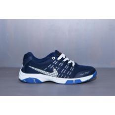 Sepatu Sport Biru Dongker/hitam/merah - Running Badminton Kets Pria sneakers jogging murah