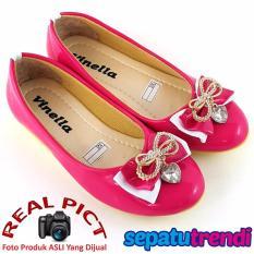 Cara Beli Sepatu Trendi Sepatu Anak Perempuan Flat Shoes Pita Vn03 Fuchsia