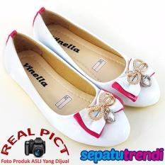 Spesifikasi Sepatu Trendi Sepatu Anak Perempuan Flat Shoes Pita Vn03 Putih Dan Harganya