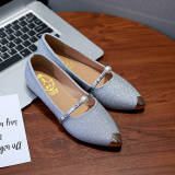 Diskon Besarsepatu Tunggal Wanita Sepatu Datar Ujung Lancip Mutiara Sepatu Kerja Pullover Casual Model Korea Perak Sepatu Wanita Flat Shoes