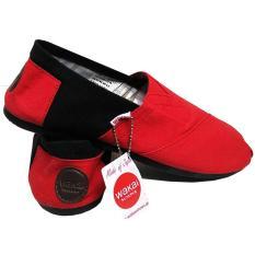 Sepatu unisex sepatu pria sepatu wanita sepatu wakai pria hitam, sepatu wanita wakai slip on loafer sepatu wanita wakai merah hitam