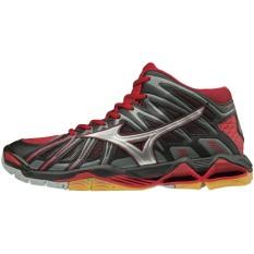 Sepatu voli Mizuno V1GA181786 Wave Tornado X2 MID - Black Silver Chinese Red