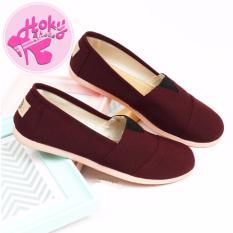 Sepatu Wanita Flat Shoes ala Wakai Slip On Kanvas HS55 - Maroon