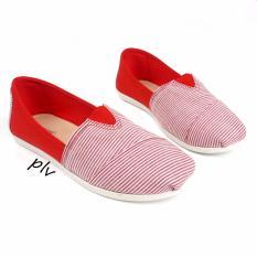 Review Pada Sepatu Wanita Flat Shoes Slip On Kanvas Blaster Tm06 Merah