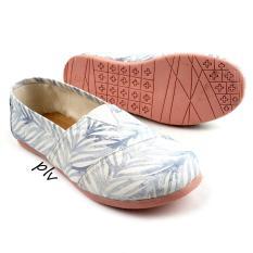 Spesifikasi Sepatu Wanita Flat Shoes Slip On Kanvas Ns09 Leaf Biru Baru