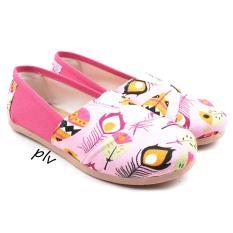 Beli Sepatu Wanita Flat Shoes Slip On Kanvas Ns15 Bulu Pink Seken