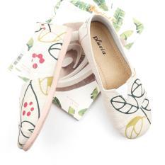 Sepatu Wanita Flat Shoes Slip On Kanvas Ns55 Floral Cream Original