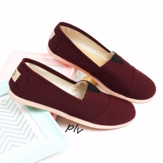 Sepatu Wanita Flat Shoes Slip On Kanvas NS55 - Maroon