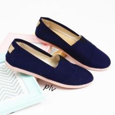 Sepatu Wanita Flat Shoes Slip On Kanvas NS55 - Navy