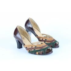 Harga Sepatu Kulit Asli Heels Wanita Nyaman Kantor Kerja Pesta Bridal Branded Cassandra Christline Leather Shoes Satu Set