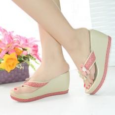 Jual Sepatu Wanita Murah Wedges Jepit Bunga Krem Nfz01 Jawa Barat Murah