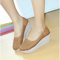 Sepatu Wanita Murah - Wedges Laser Sintetis Mocca NFZ-806