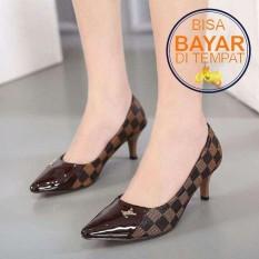 Sepatu Wanita - Sepatu Sandal High heels LV MS050 Coklat