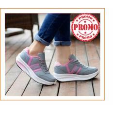 Sepatu Wanita - Sneaker Kets Olahraga Abu List Pink