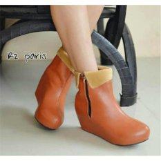 Sepatu Wanita Wedges Boots Adera - Coklat R2