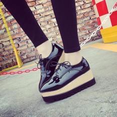 Harga Sepatu Wanita Wedges Hitam Glosy Asli