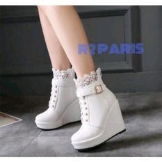 Beli Sepatu Wedges Boots Wanita Brukat Putih Trinca R2 Cicil