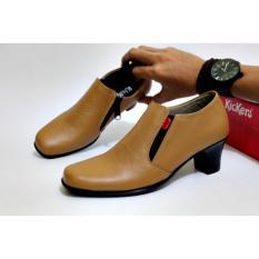 Sepatu Wedges Heels Pantofel Wanita Kulit Asli Kickers Slop Formal Kerja Kantoran Slop Casual - Free Kaos Kaki