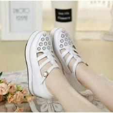 Jual Sepatu Wanita Wedges Murah Model Terbaru Laser Zr39 Putih Satu Set