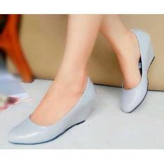 Sepatu Wedges Wanita Ja08 Sintetis Glossy Grey Terbaru