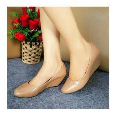 Daftar Harga Sepatu Wedges Wanita Ja08 Sintetis Glossy Tan Wedges