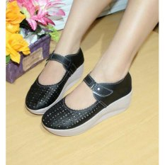 Beli Sepatu Wedges Wanita Laser Sintetis Hitam Nfz 053 Cicil