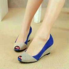 Sepatuafa Wedges Sepatu Kerja Pesta Glitter Al11 Biru