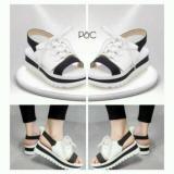 Beli Sepatu Sandal Wanita Trendy Putih Hitam Bertali