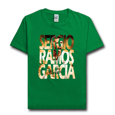 Sergio Ramos T Shirt Man Jerseys T-Shirt Tops Football 02 (Irlandia Hijau)