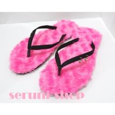 Seruni Flat Sandals Jepit Bulu Pink