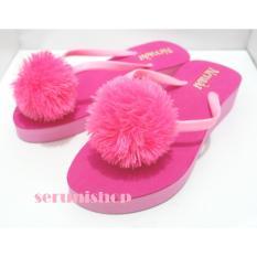 Seruni Flat Sandals Jepit Wedges Pompom
