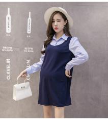 Set Baju Hamil Kemeja + Rok Dalaman Model Panjang Sedang Katun Murni Motif Salur (Tombol Lengan Palsu Dua)